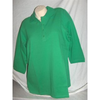 Damen Polo-Shirt mit 3/4 Arm grün Gr. 40/42 (02)