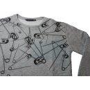 frekans Shirt Longshirt grau mit Sicherheitsnadeln Gr. S