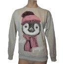 """PonPon Shirt Pullover """"Winter Pinguin"""" in Grau, Blau oder Schwarz Gr. S, M oder L"""