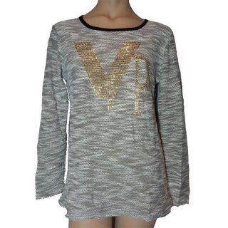 Miss KNH Fashion Shirt Longshirt VIP mit Pailetten Boucle grau oder weiß Gr. M bis XXL