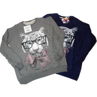 Pon Pon Shirt Pullover Longshirt Löwe mit Brille Gr. L blau o. grau