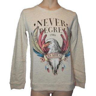 "Sweatshirt ""Never Begret"" beige Gr. S oder M"