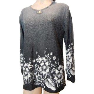 G-D2 Fashion-Shirt langarm blau oder grau Blumenmuster L bis XXXL
