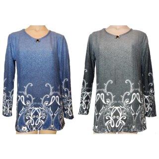 G-D2 Fashion Shirt langarm blau o. grau mit Muster + Kugel L - XXXL