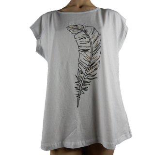 Naut Pole T-Shirt Shirt weiß mit Feder schwarz/gold große Größen